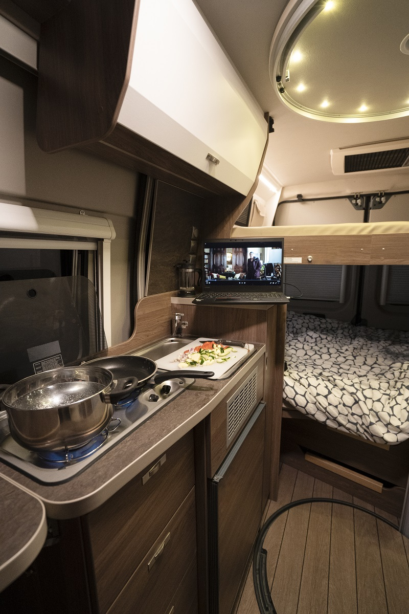 Inside luxury campervan